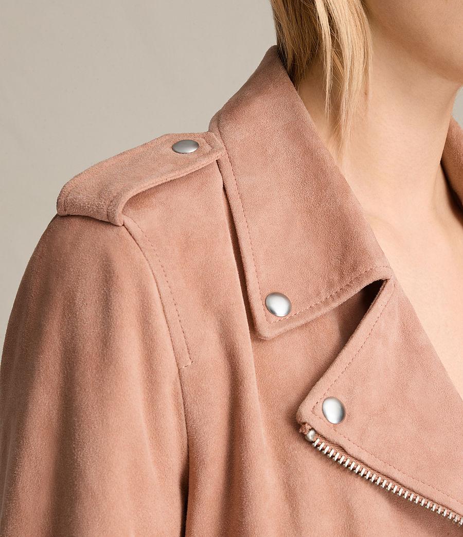 Womens Plait Balfern Suede Biker Jacket (clay_pink) - Image 7