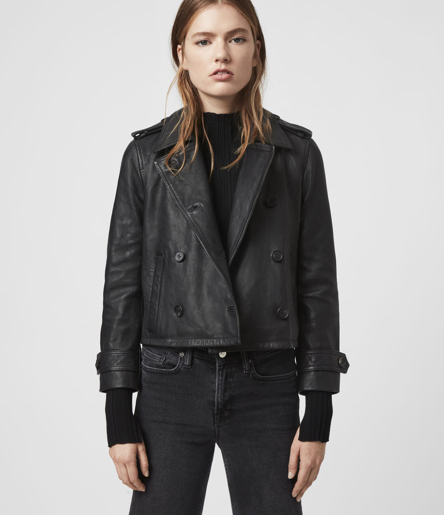 Women's Trae Leather Jacket (black) - Image 1