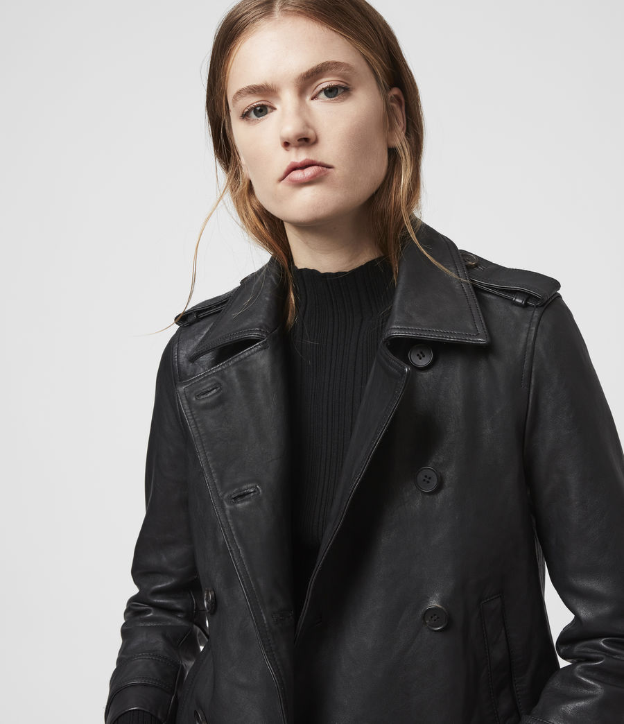 Women's Trae Leather Jacket (black) - Image 3