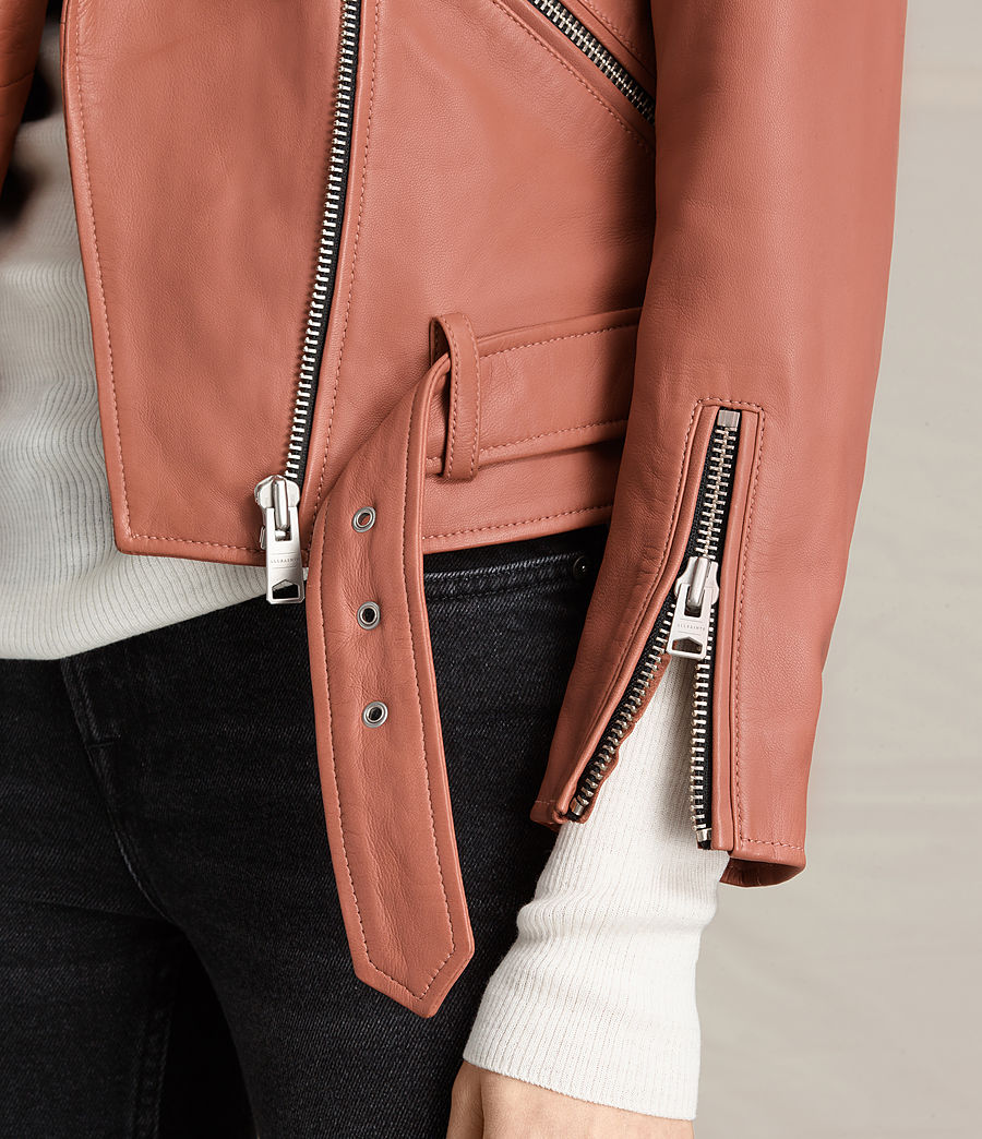 Womens Balfern Leather Biker Jacket (burnt_coral) - Image 4