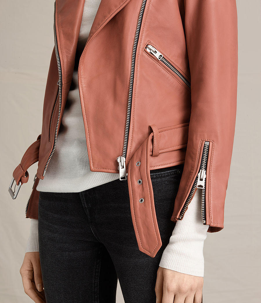 Womens Balfern Leather Biker Jacket (burnt_coral) - Image 5