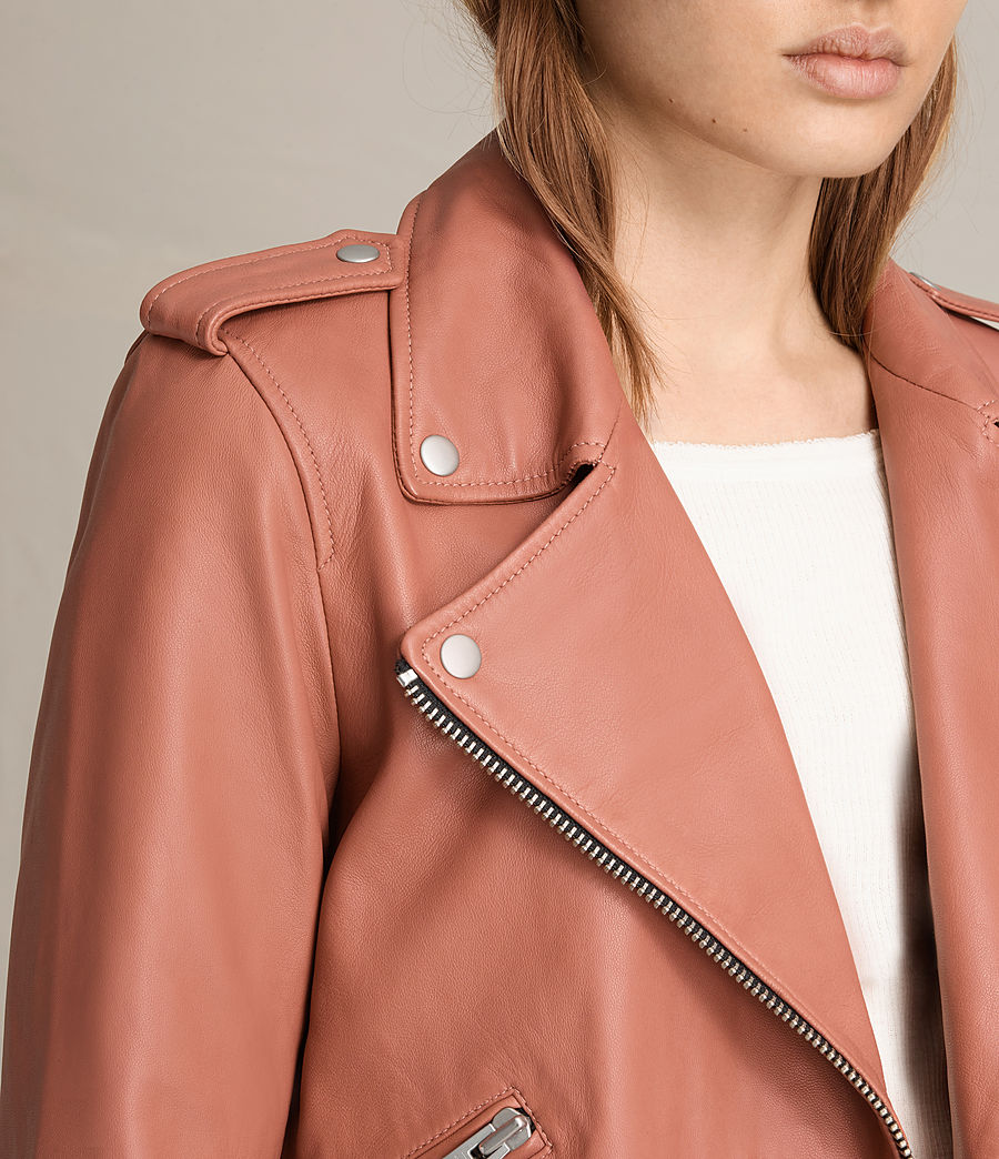 Womens Balfern Leather Biker Jacket (burnt_coral) - Image 7