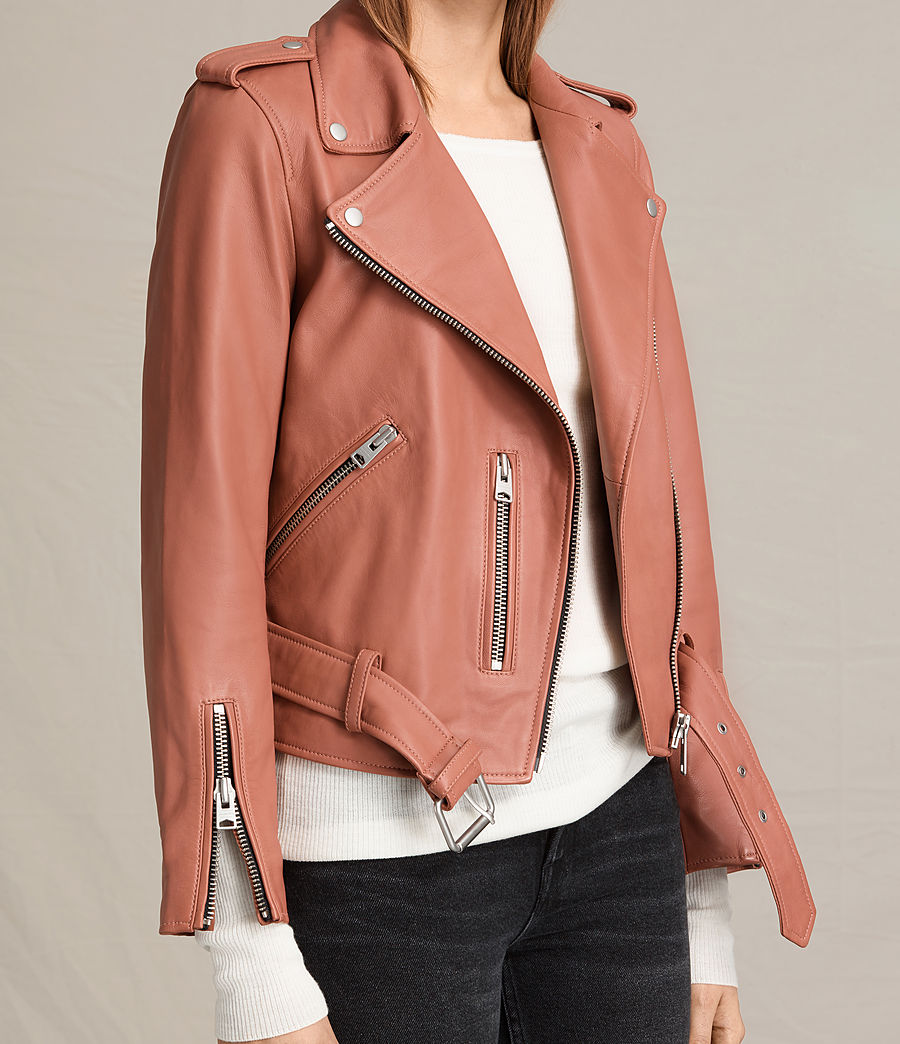 Womens Balfern Leather Biker Jacket (burnt_coral) - Image 8