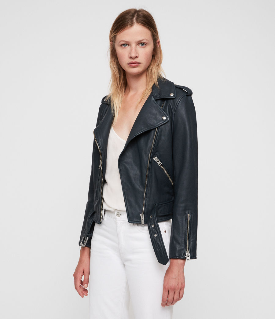 Women's Balfern Leather Biker Jacket (midnight_blue) - Image 1