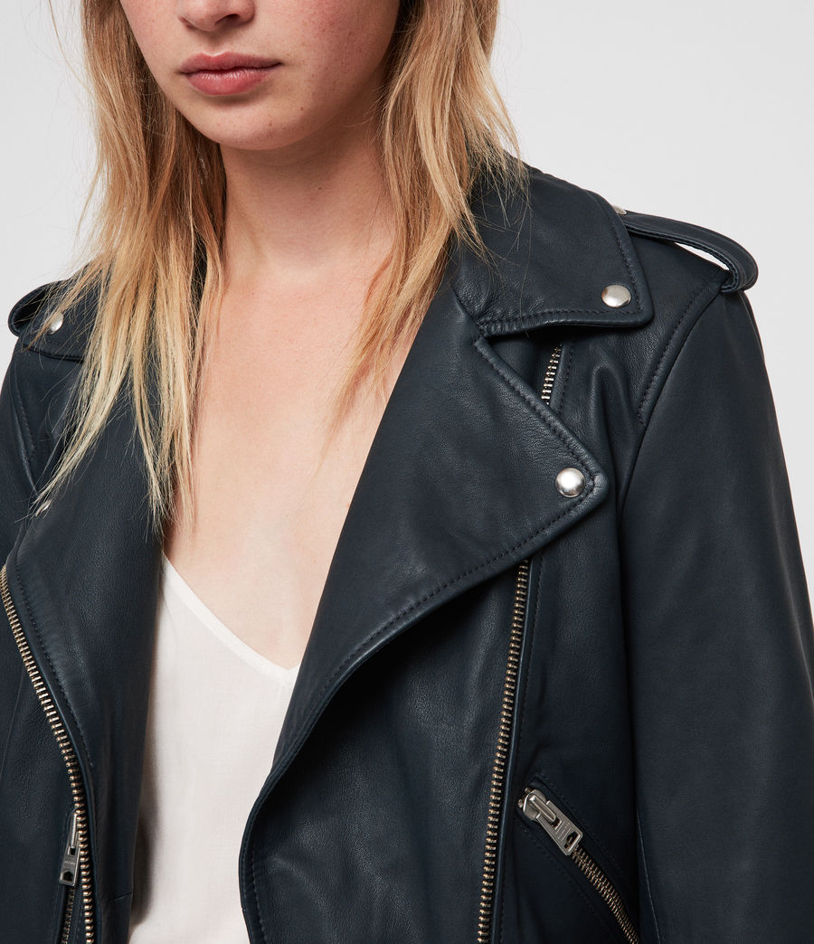 Womens Balfern Leather Biker Jacket (midnight_blue) - Image 2