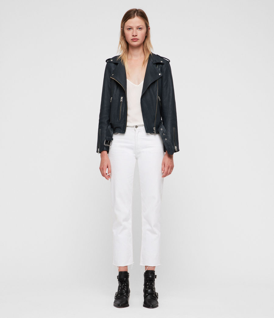 Womens Balfern Leather Biker Jacket (midnight_blue) - Image 3