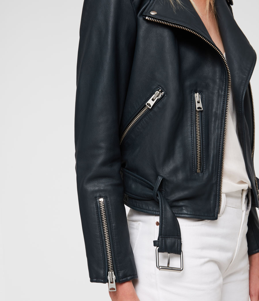 Womens Balfern Leather Biker Jacket (midnight_blue) - Image 4