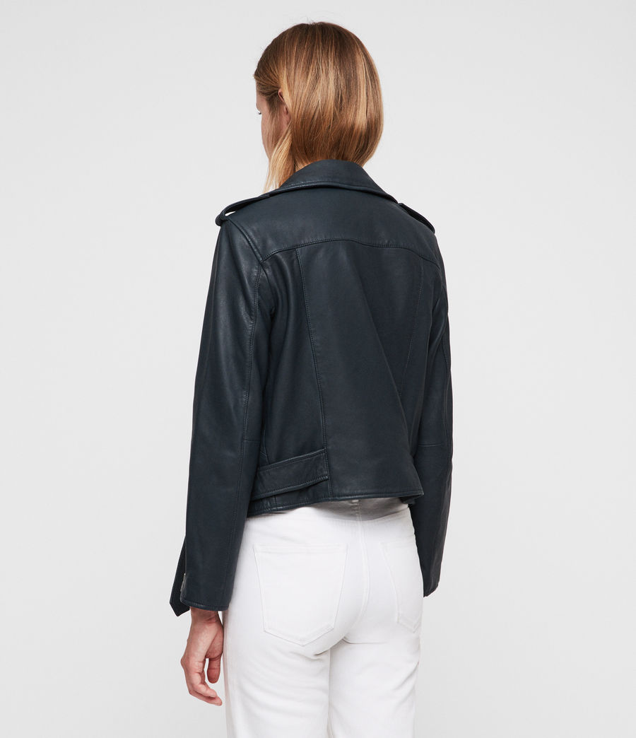 Womens Balfern Leather Biker Jacket (midnight_blue) - Image 5