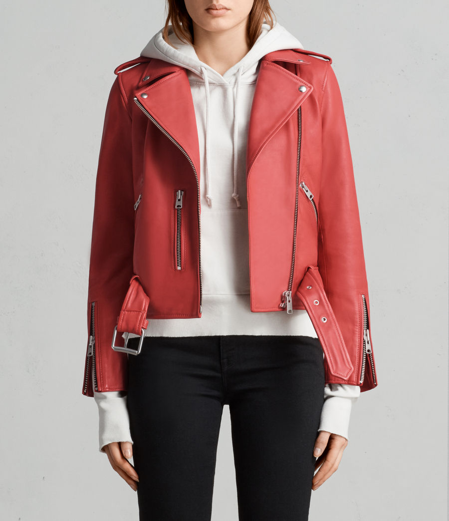 Women's Balfern Leather Biker Jacket (CORAL RED) - Image 1