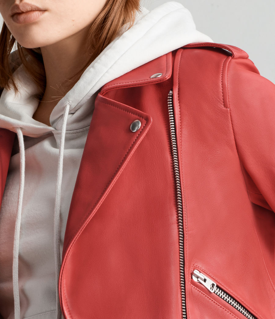 Women's Balfern Leather Biker Jacket (CORAL RED) - Image 2