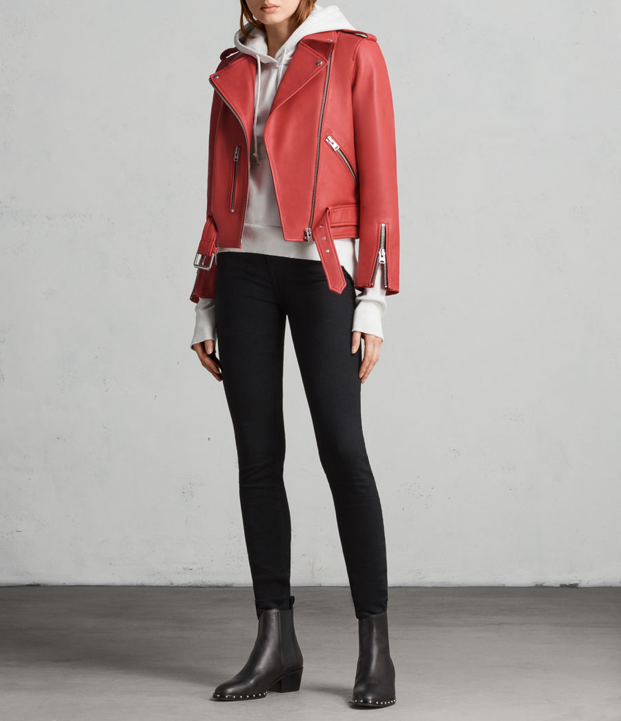 Women's Balfern Leather Biker Jacket (CORAL RED) - Image 3