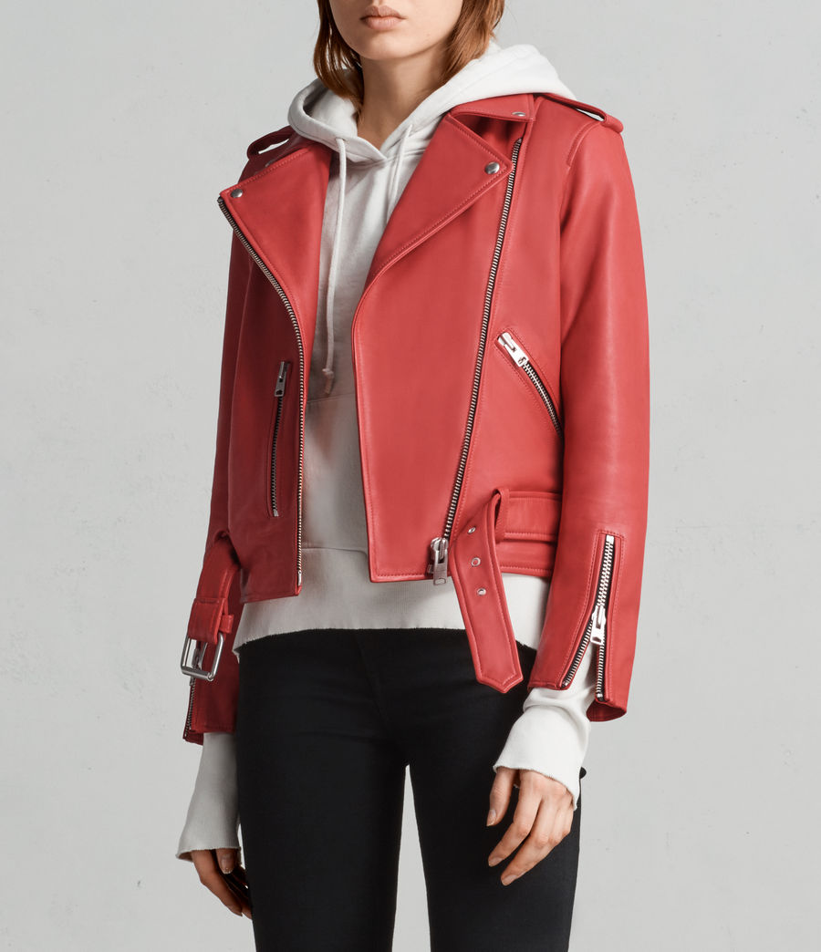 Women's Balfern Leather Biker Jacket (CORAL RED) - Image 4