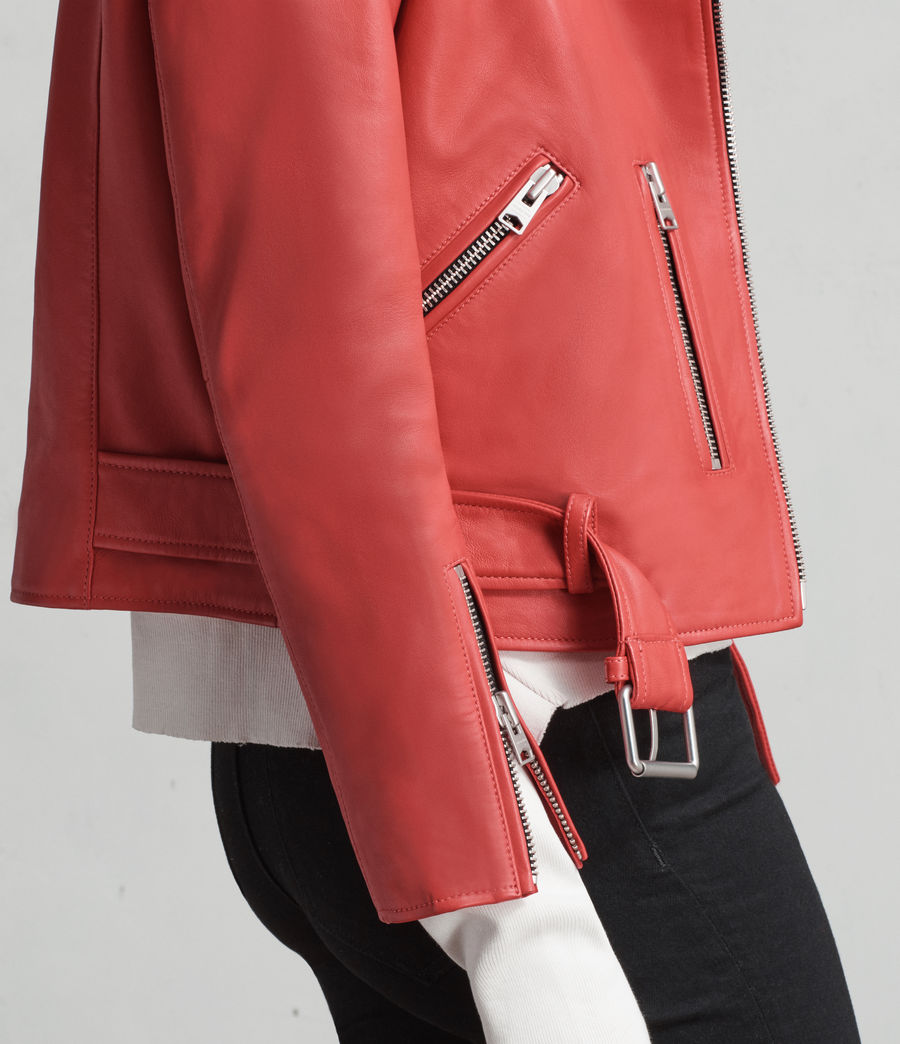 Women's Balfern Leather Biker Jacket (CORAL RED) - Image 5