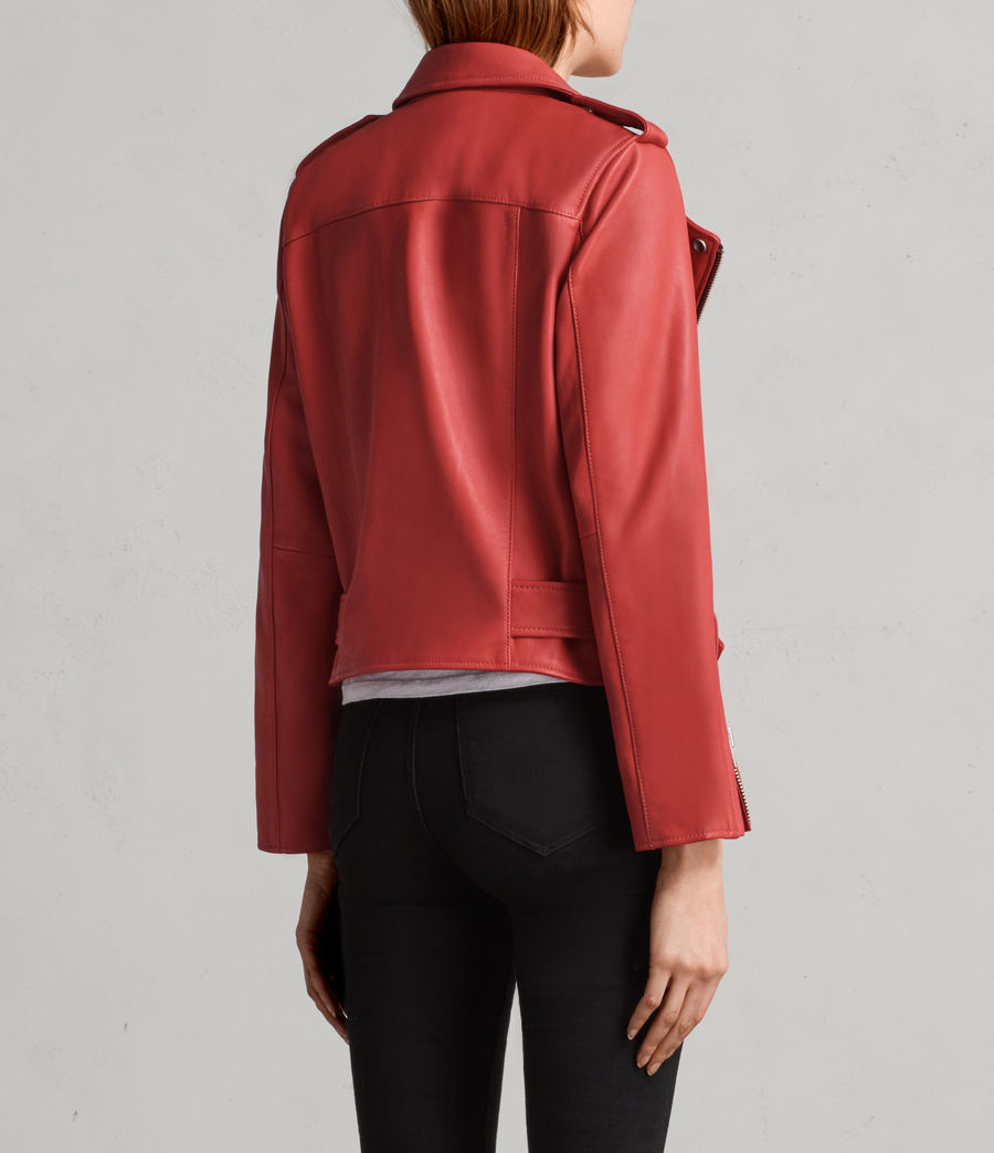 Women's Balfern Leather Biker Jacket (CORAL RED) - Image 6