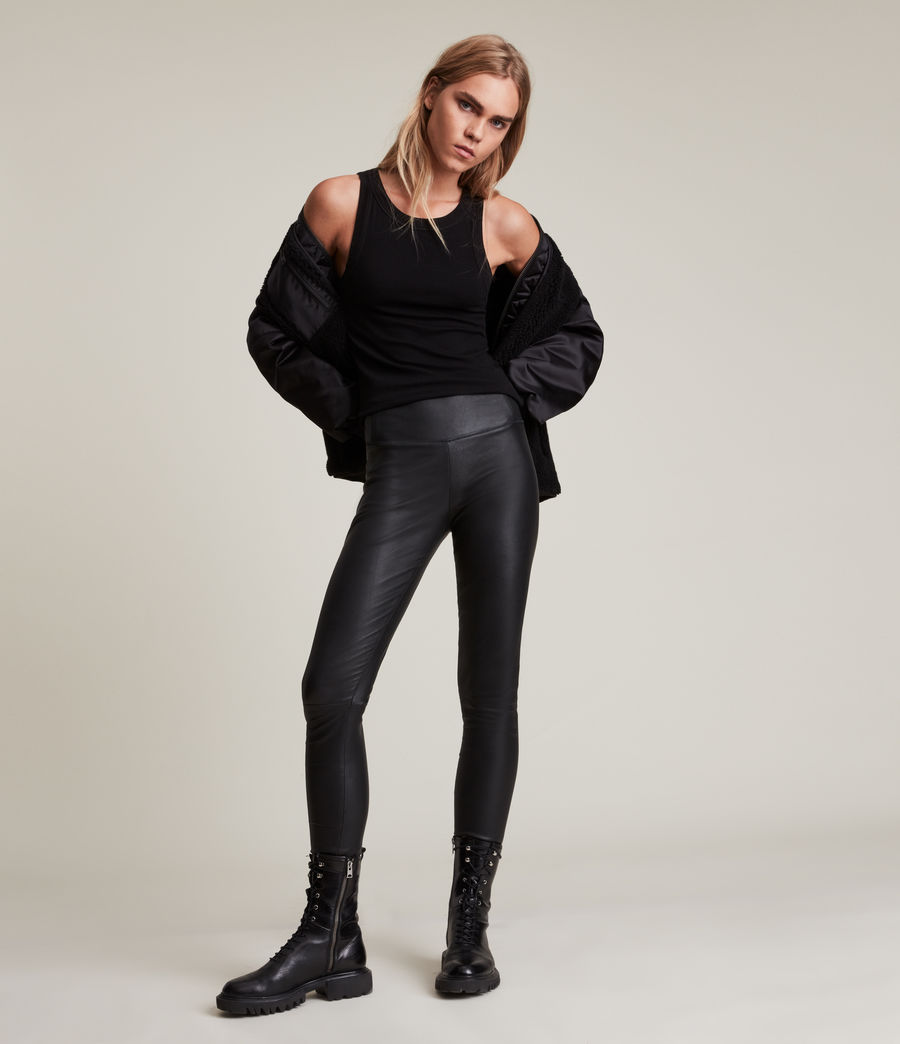 Womens Cora High-Rise Leather Leggings (black) - Image 1
