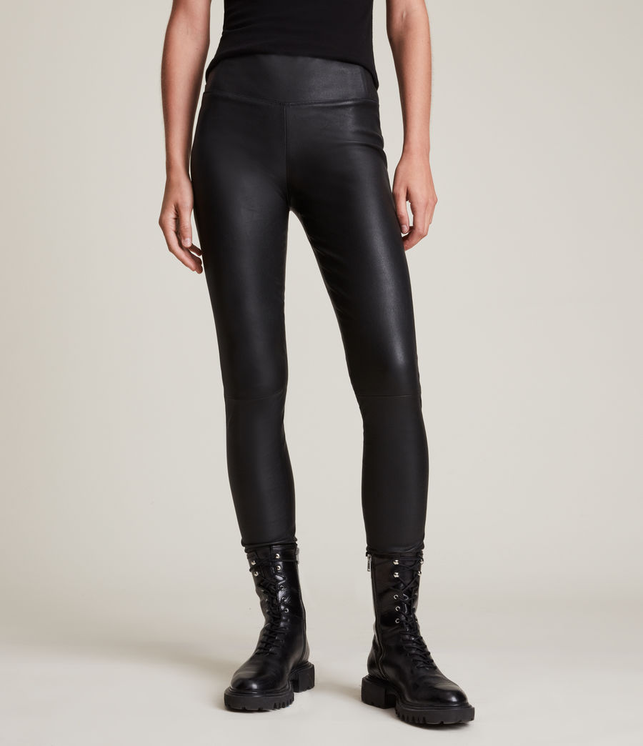 Womens Cora High-Rise Leather Leggings (black) - Image 2