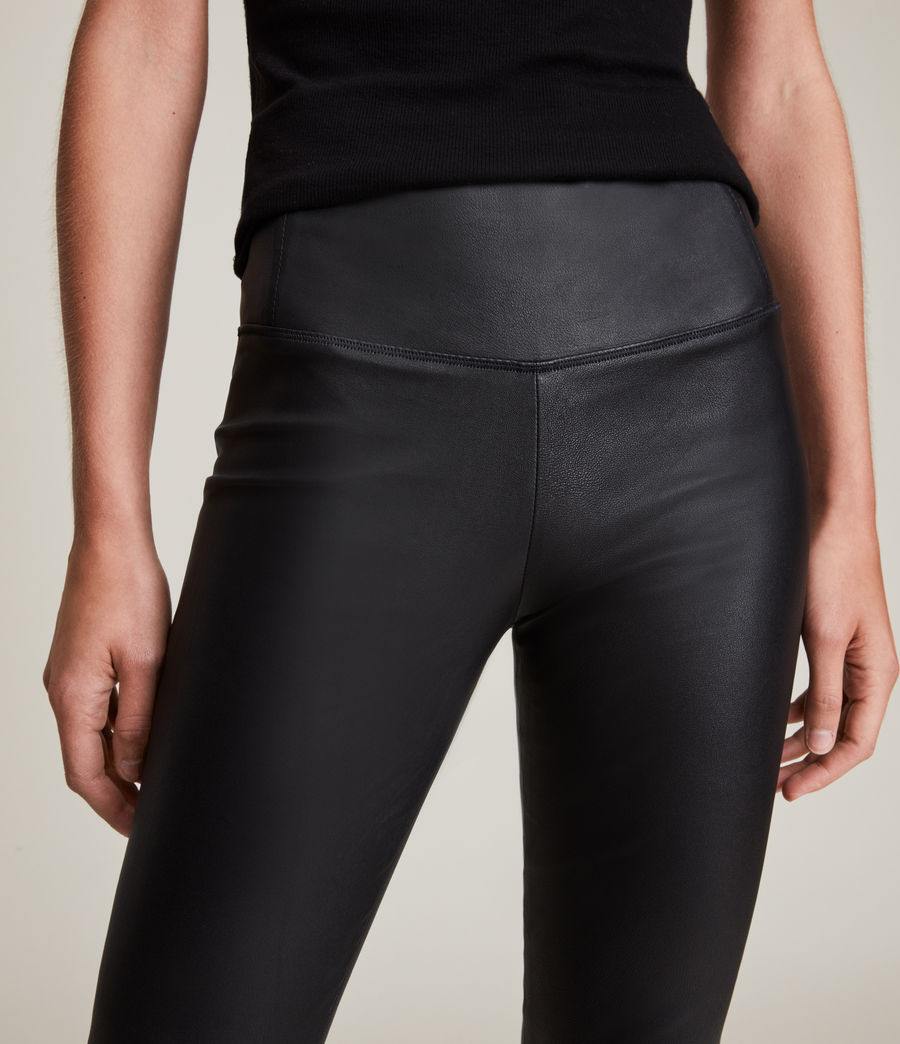 Womens Cora High-Rise Leather Leggings (black) - Image 3