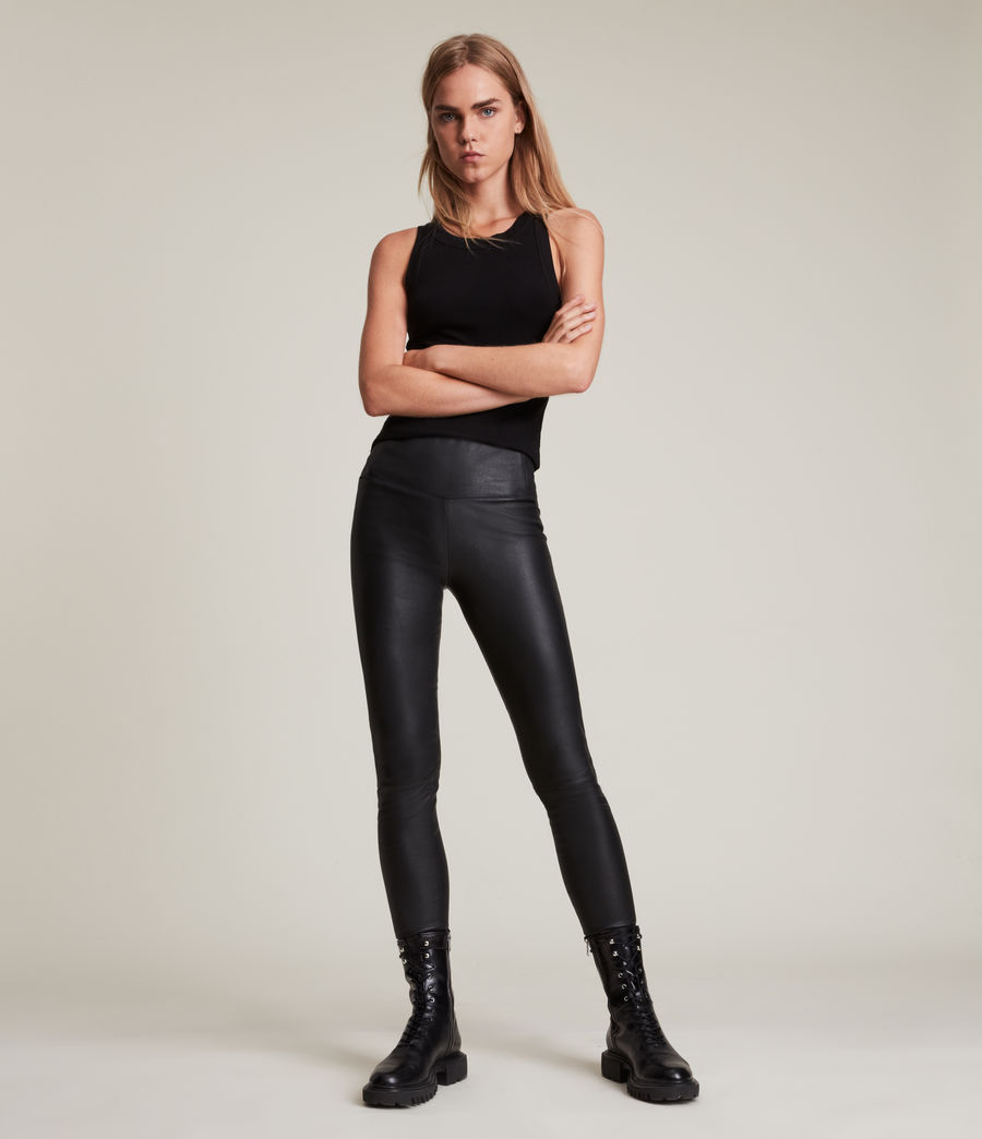 Womens Cora High-Rise Leather Leggings (black) - Image 4
