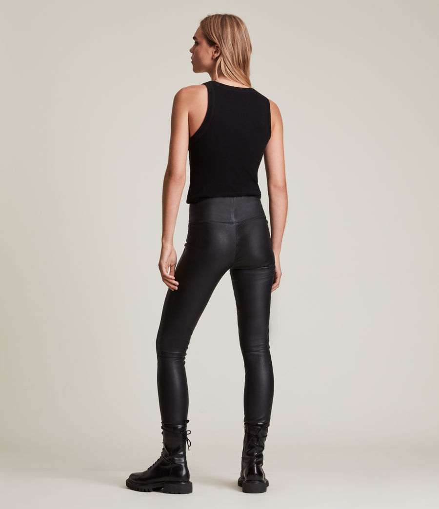 Womens Cora High-Rise Leather Leggings (black) - Image 5
