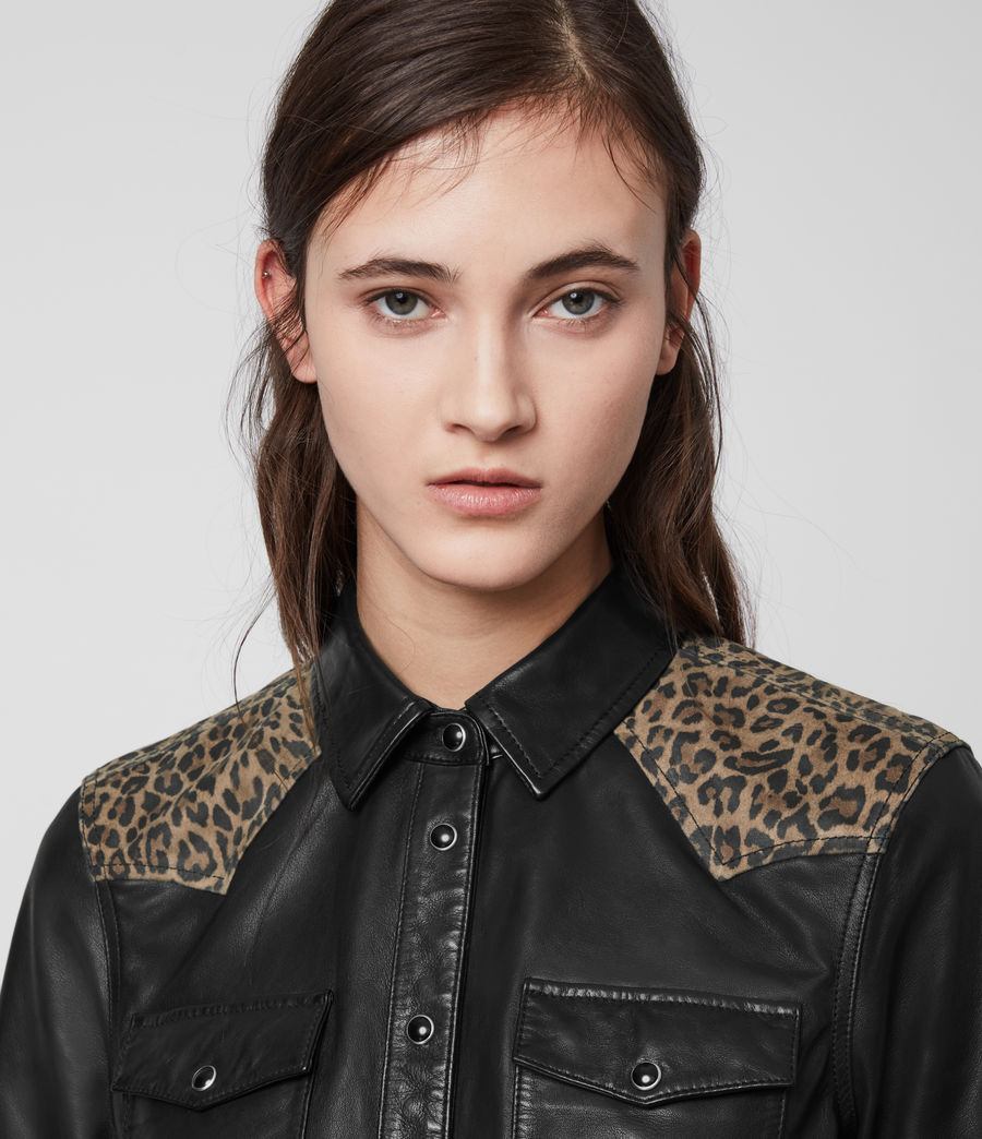 Womens Stanway Leo Leather Shirt (black_leopard) - Image 5