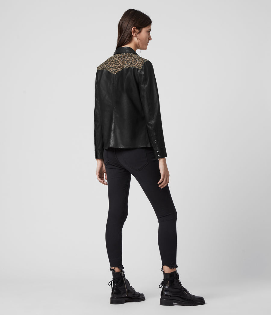 Womens Stanway Leo Leather Shirt (black_leopard) - Image 6