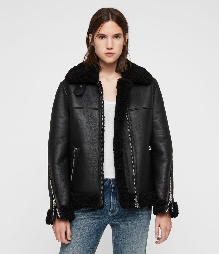 Womens Jaya Shearling Jacket (black) - Image 1