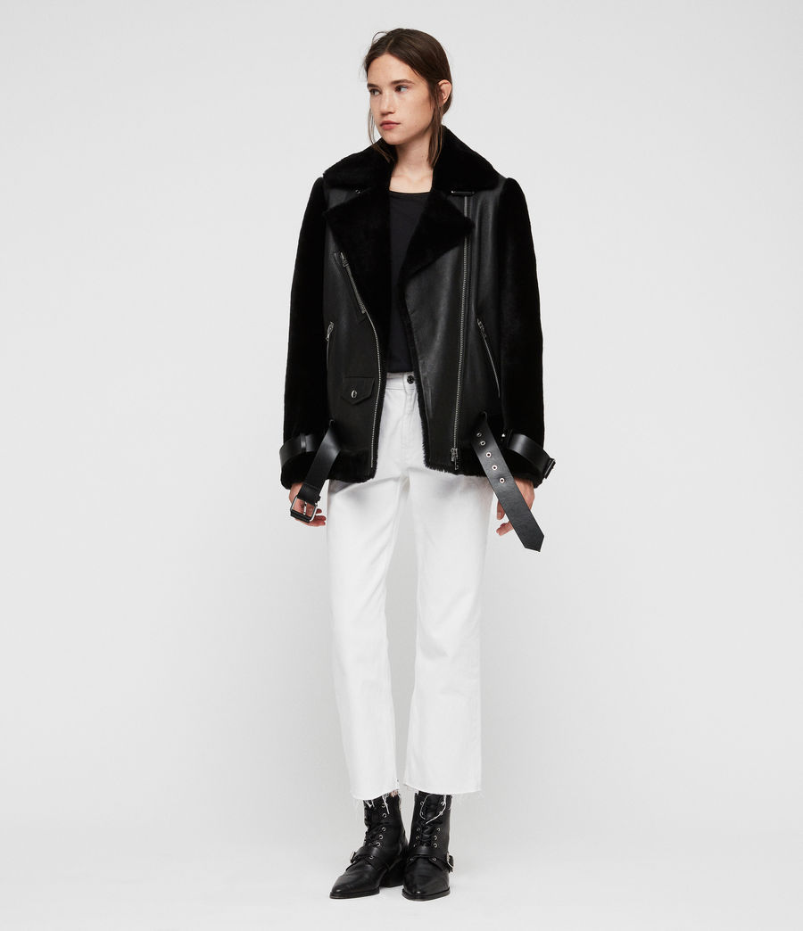 Womens Alto Shearling Jacket (black) - Image 3