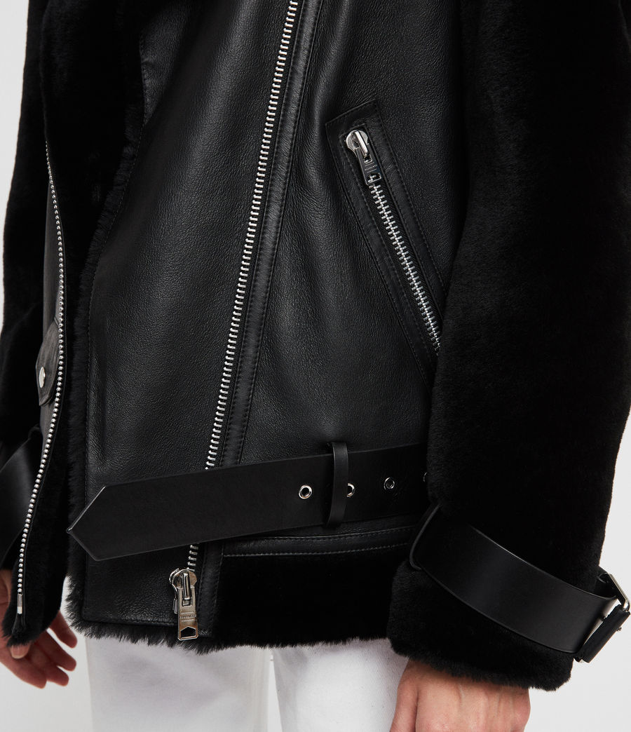Womens Alto Shearling Jacket (black) - Image 4