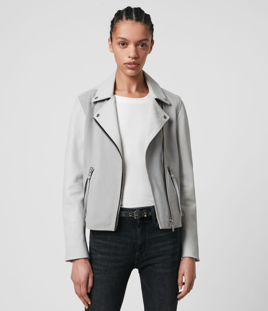 Damen Dalby Mix Leather Biker Jacket (cloud_grey_white) - Image 1