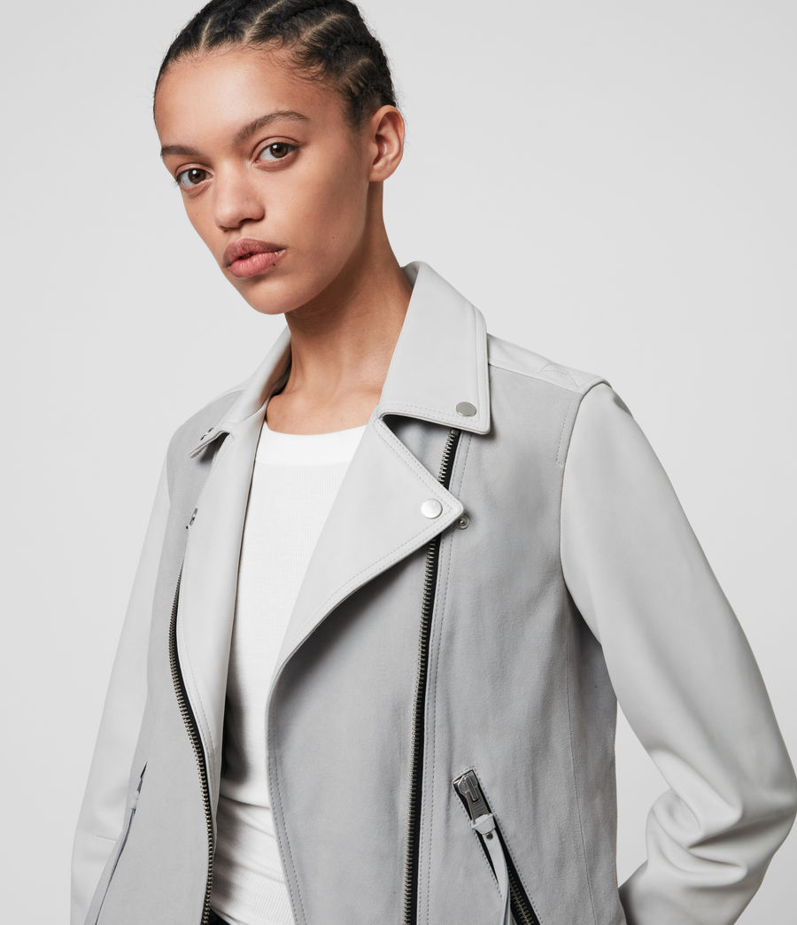 Damen Dalby Mix Leather Biker Jacket (cloud_grey_white) - Image 2