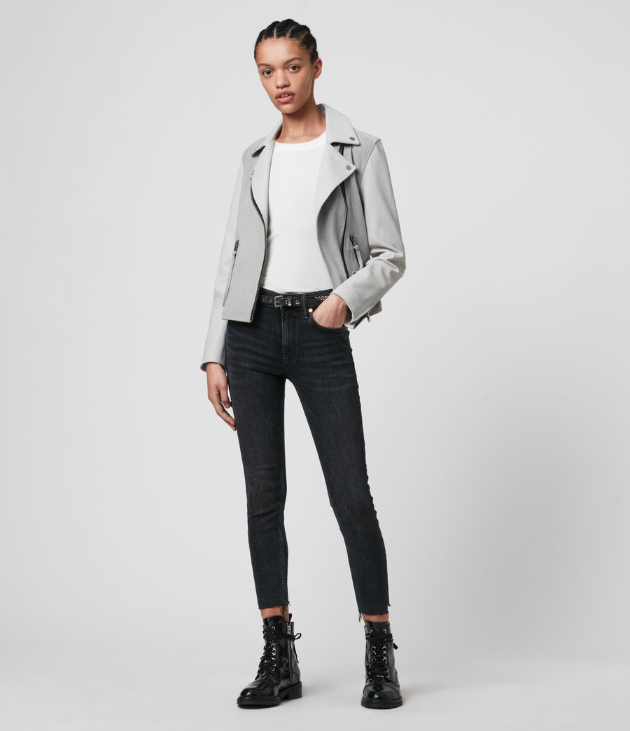 Damen Dalby Mix Leather Biker Jacket (cloud_grey_white) - Image 3