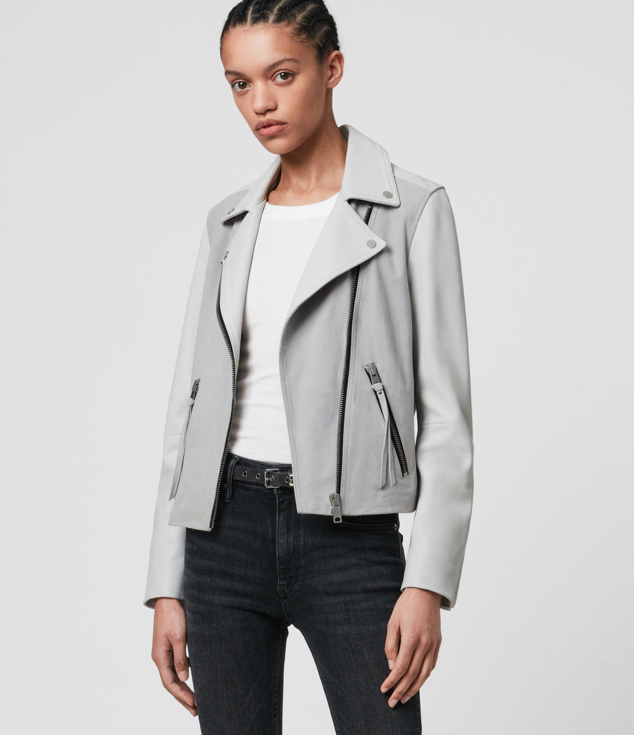 Damen Dalby Mix Leather Biker Jacket (cloud_grey_white) - Image 4