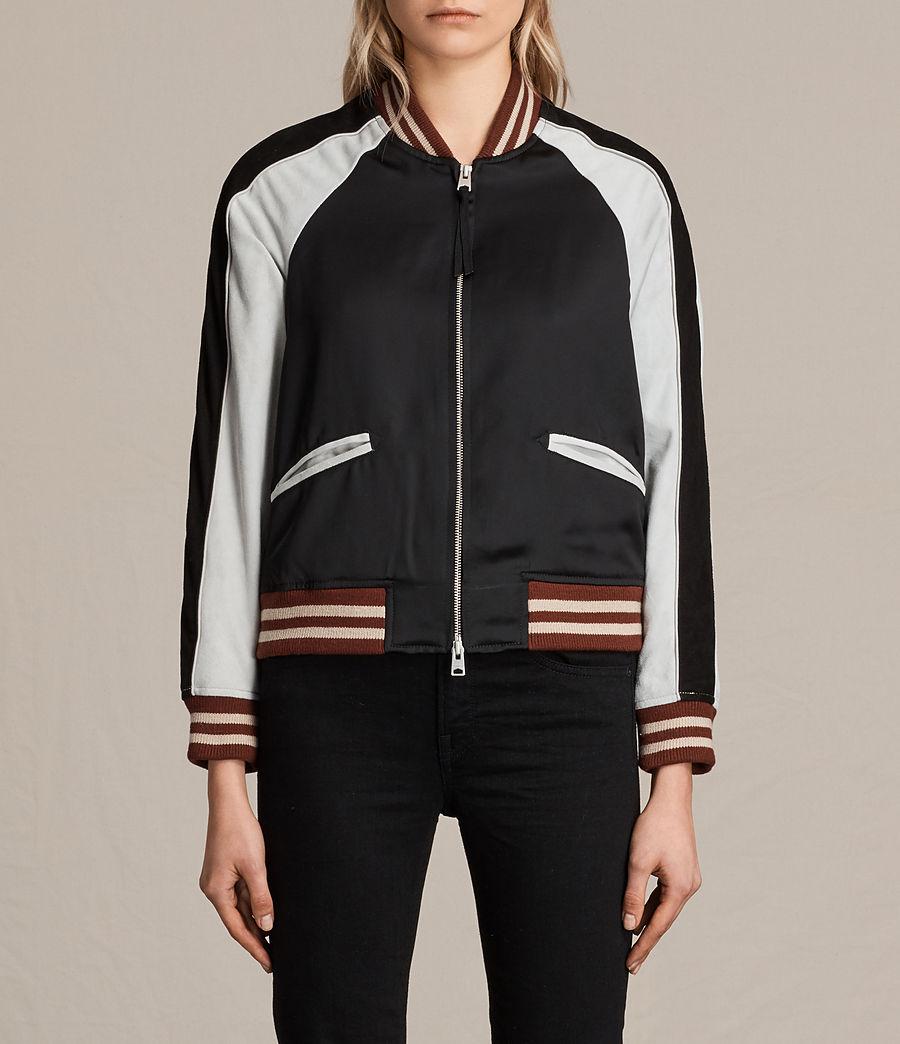 Womens Atley Bomber Jacket (black_oyster_white) - Image 1