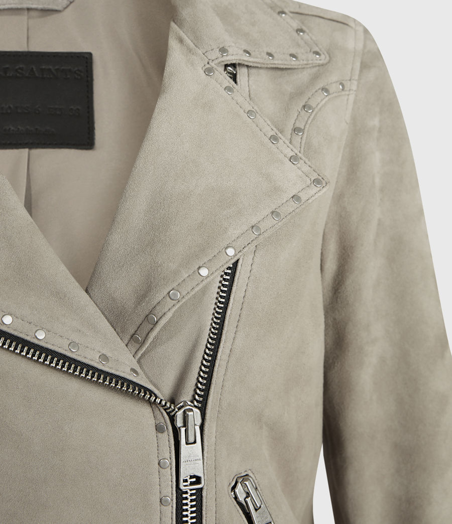 Womens Dalby Western Suede Biker Jacket (taupe_brown) - Image 4