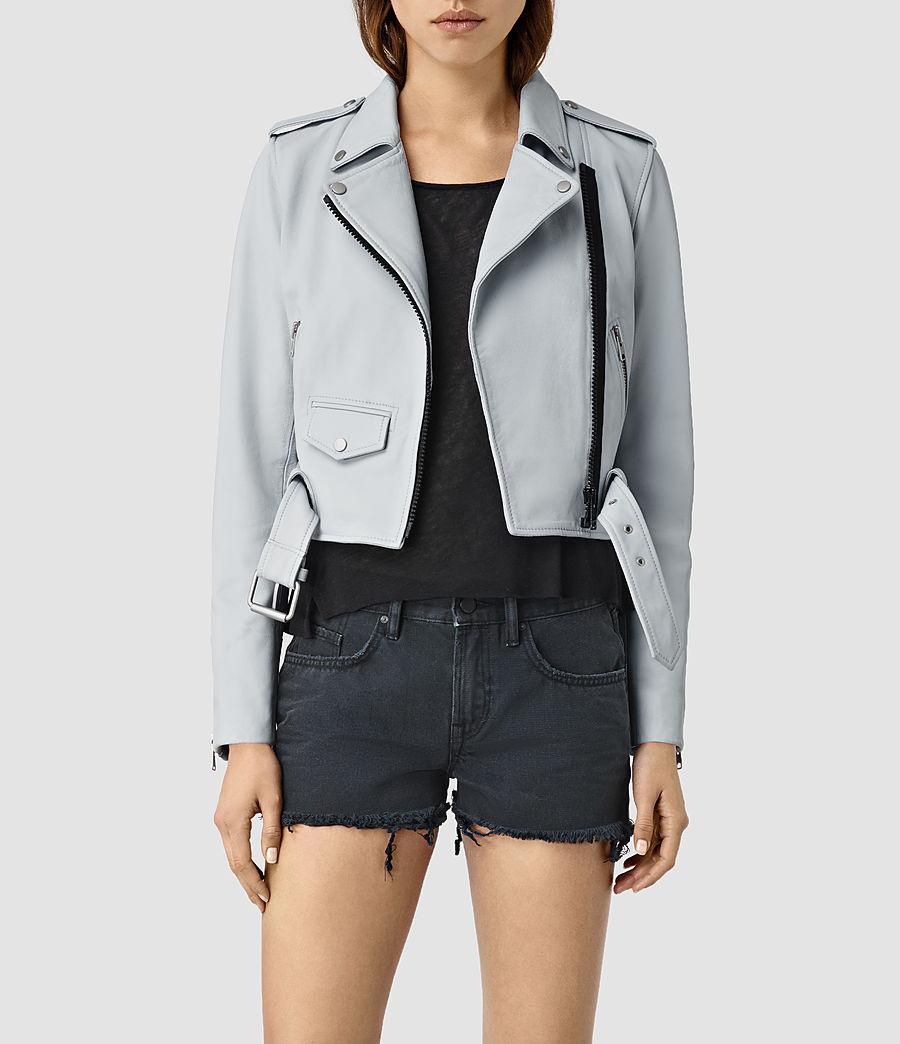 Womens Baron Leather Biker Jacket (sky_blue) - Image 1