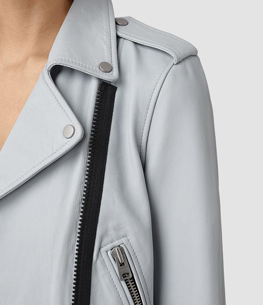 Womens Baron Leather Biker Jacket (sky_blue) - Image 2