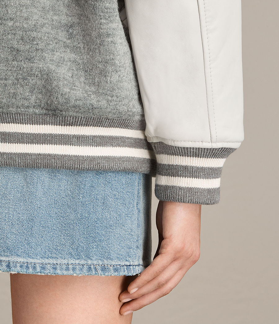 Women's Base Wool Bomber Jacket (light_grey_oyster) - Image 4