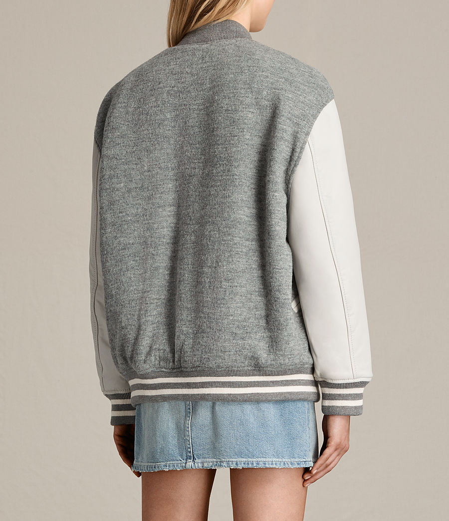 Women's Base Wool Bomber Jacket (light_grey_oyster) - Image 8