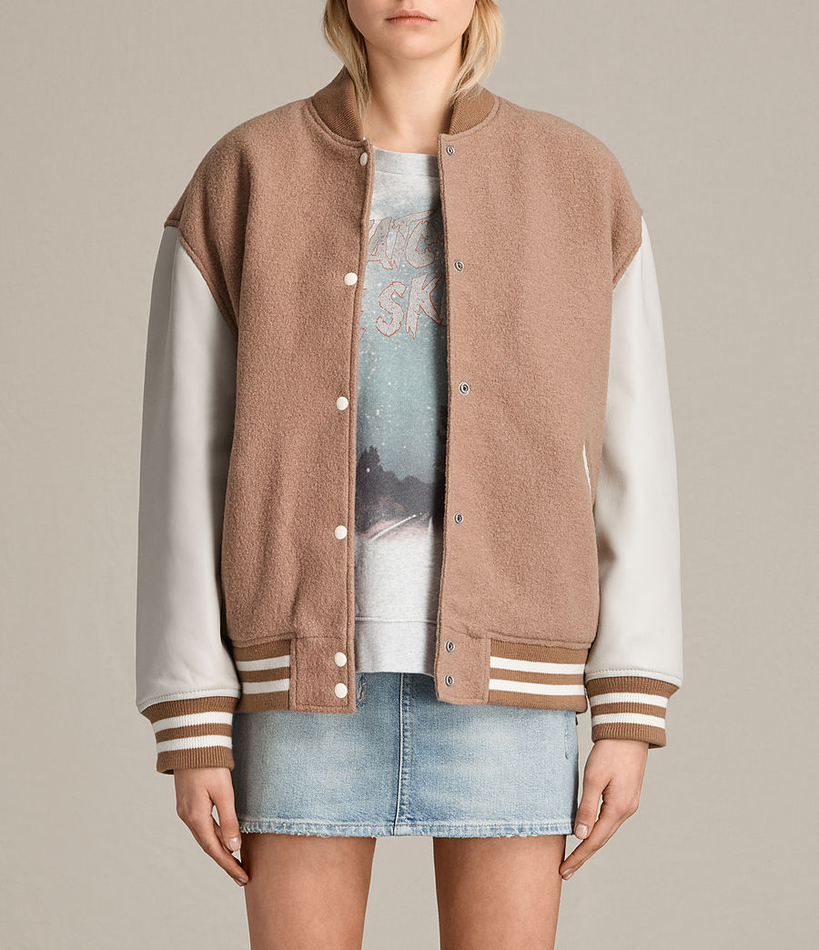 Women's Base Wool Bomber Jacket (smokeorange_oyster) - Image 1