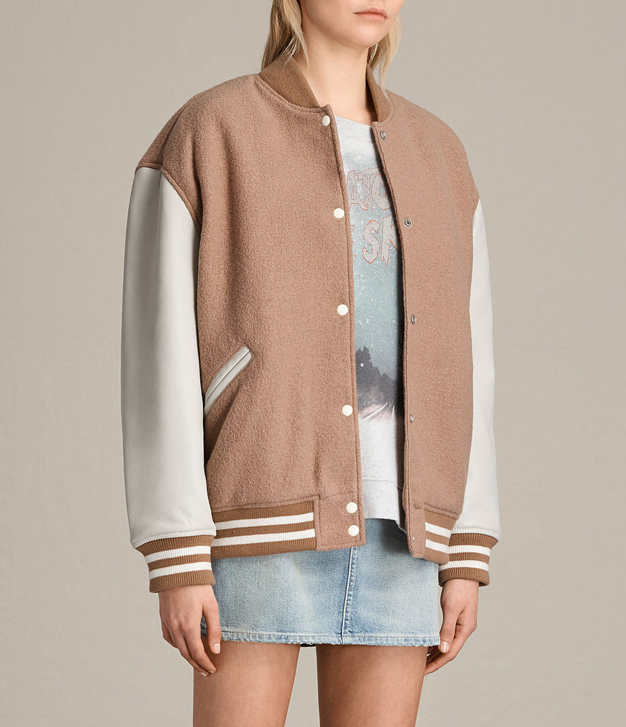 Women's Base Wool Bomber Jacket (smokeorange_oyster) - Image 4