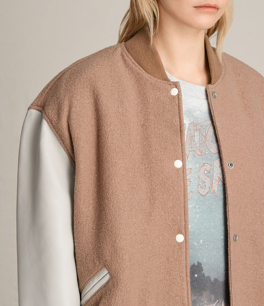 Women's Base Wool Bomber Jacket (smokeorange_oyster) - Image 5