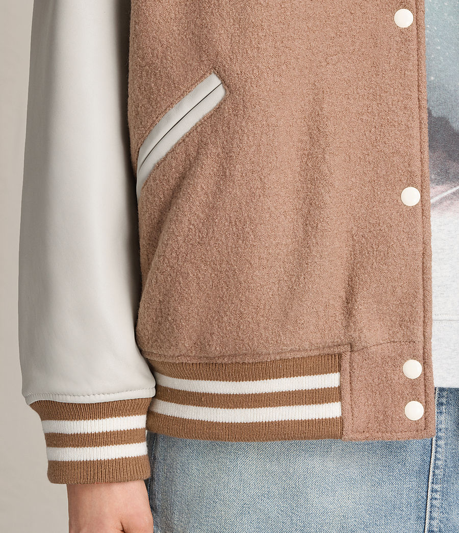 Women's Base Wool Bomber Jacket (smokeorange_oyster) - Image 6