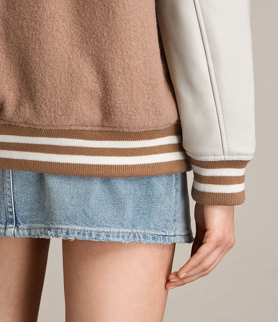 Women's Base Wool Bomber Jacket (smokeorange_oyster) - Image 7