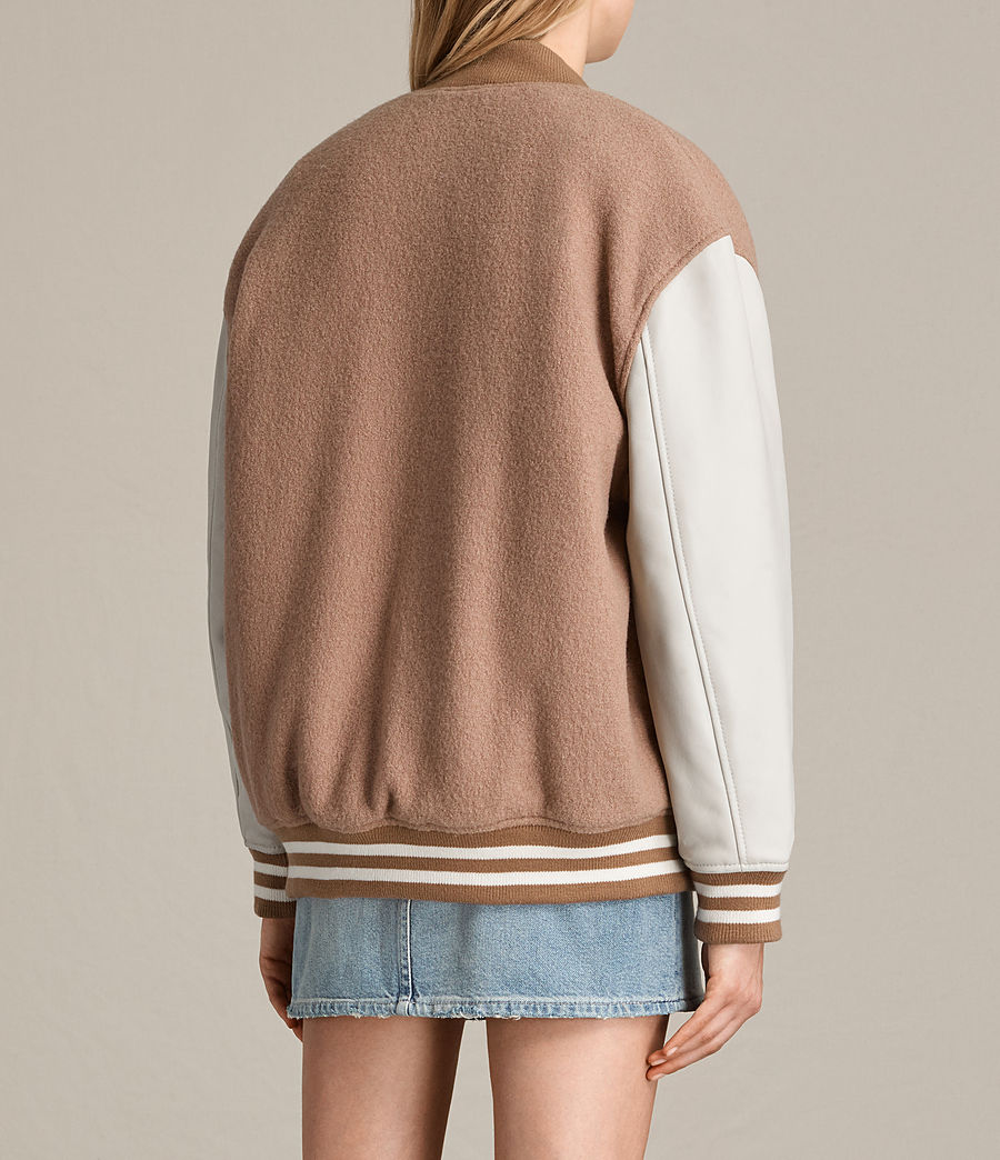 Women's Base Wool Bomber Jacket (smokeorange_oyster) - Image 8