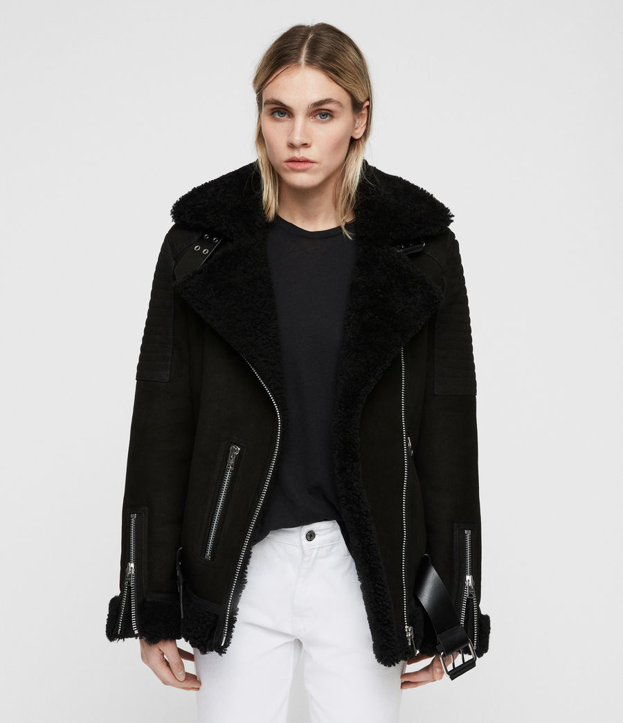 Women's Garrix Shearling Jacket (black) - Image 1
