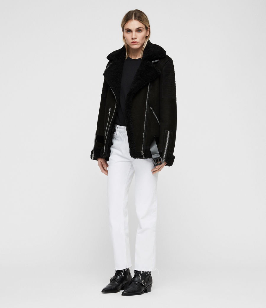 Women's Garrix Shearling Jacket (black) - Image 3