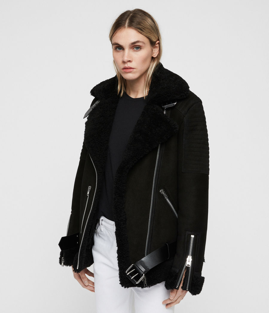Women's Garrix Shearling Jacket (black) - Image 4