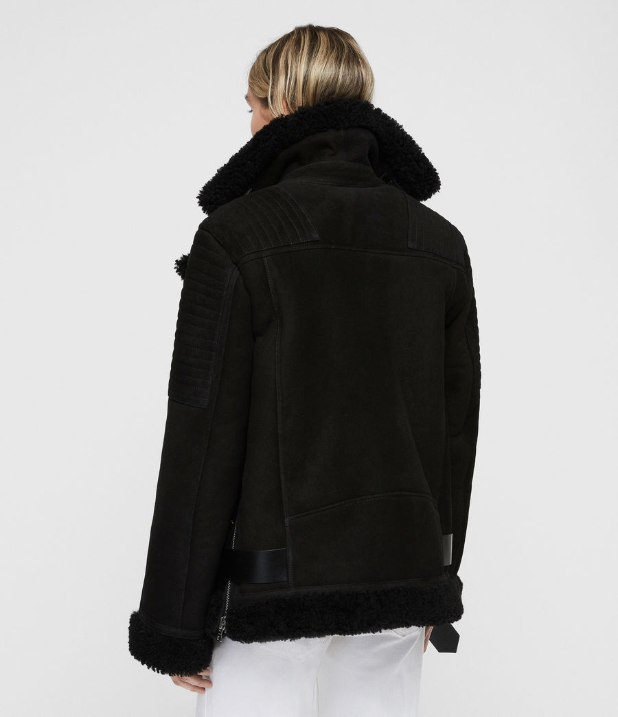 Women's Garrix Shearling Jacket (black) - Image 5