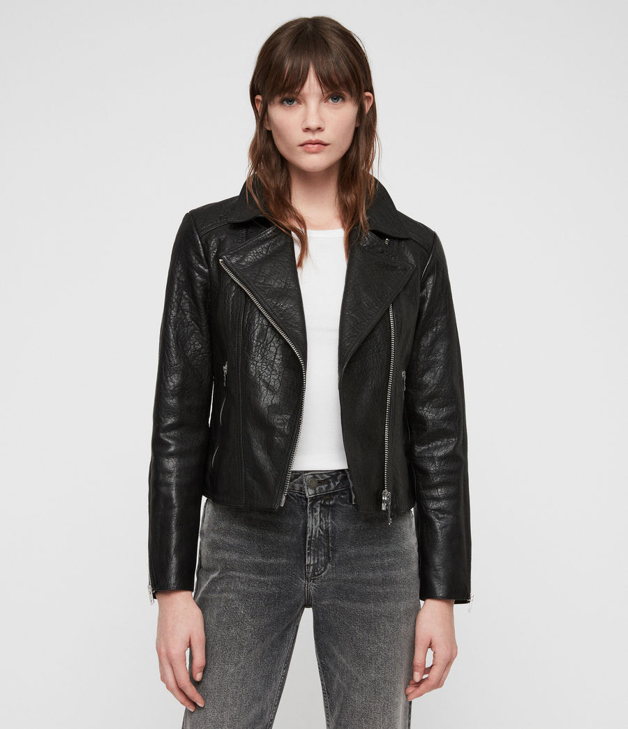 Women's Pataya Leather Biker Jacket (black) - Image 1