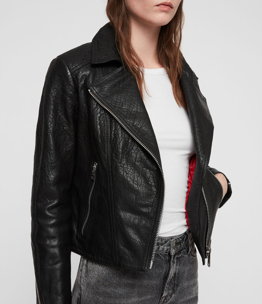 Women's Pataya Leather Biker Jacket (black) - Image 2